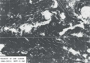 Figure 1: Satellite photo showing the clouds moving towards the convergence areas B, C, and D.  The arrows indicate the directions of the wind. (The Use of Satellite Pictures in Weather Analysis and Forecasting, Anderson and others, p. 188.)