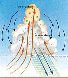 Figure 3: A cumulonimbus cloud.  After the cloud is stacked up, rain comes out of it. (Weather and Climate, Bodin, p.123.)
